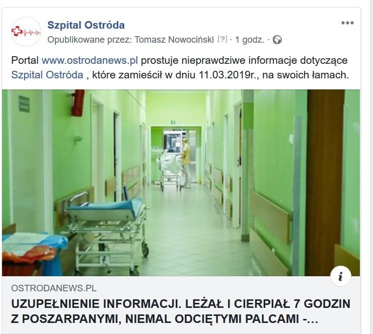 Oświadczenie Szpitala wOstródzie wsprawie nieprawdziwych informacji podanych przezportal ostrodanews.pl